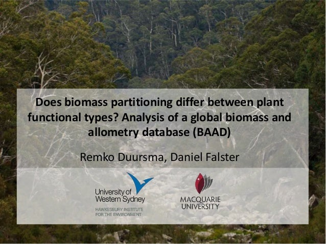 Does biomass partitioning differ between plant functional types? Analysis of a global biomass and allometry database (BAAD...