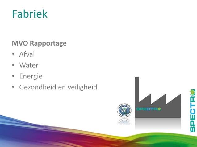 11 Fabriek MVO Rapportage • Afval • Water • Energie • Gezondheid en veiligheid