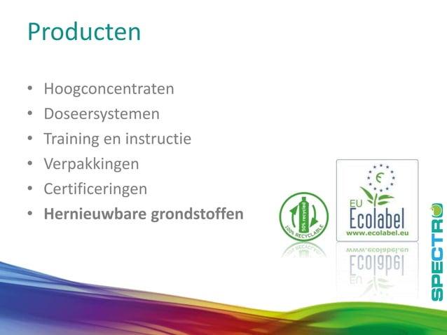 12 Producten • Hoogconcentraten • Doseersystemen • Training en instructie • Verpakkingen • Certificeringen • Hernieuwbare ...
