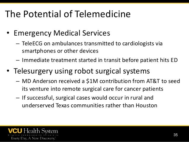 """telemedicine the future in health care Telemedicine is the embodiment of this type of technology in healthcare however, it has far greater potential and will eventually bring basic medical care out of clinics and hospitals and into the patient's home st louis, missouri's mercy virtual care center is a four-story, 125,000-square foot """"hospital."""