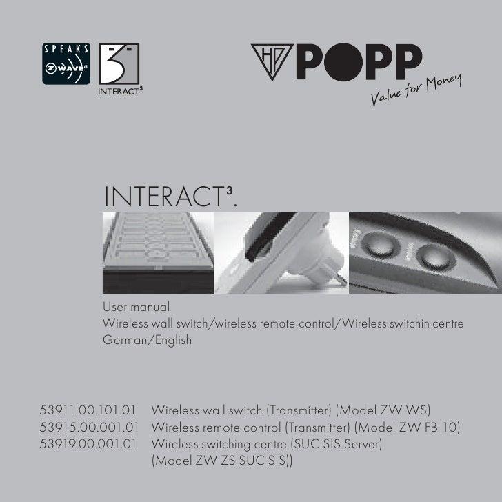 INTERACT3.          User manual          Wireless wall switch/wireless remote control/Wireless switchin centre          Ge...