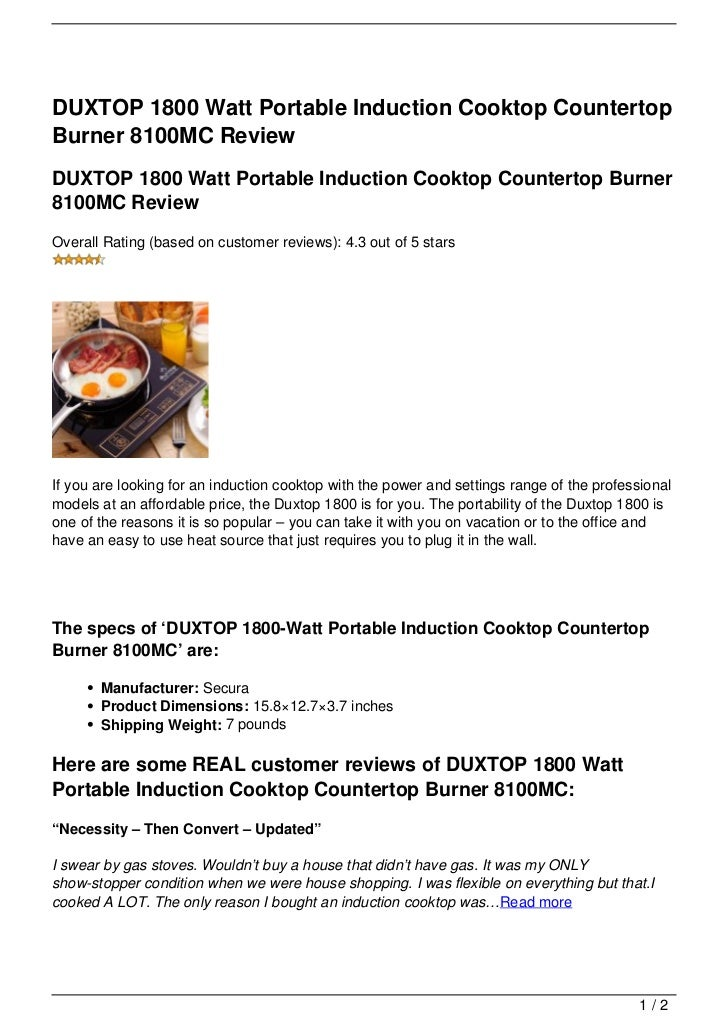 countertop watt burner duxtop cooktop portable induction review watch countertops