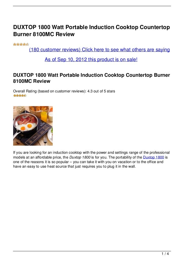 DUXTOP 1800 Watt Portable Induction Cooktop CountertopBurner 8100MC Review         (180 customer reviews) Click here to se...