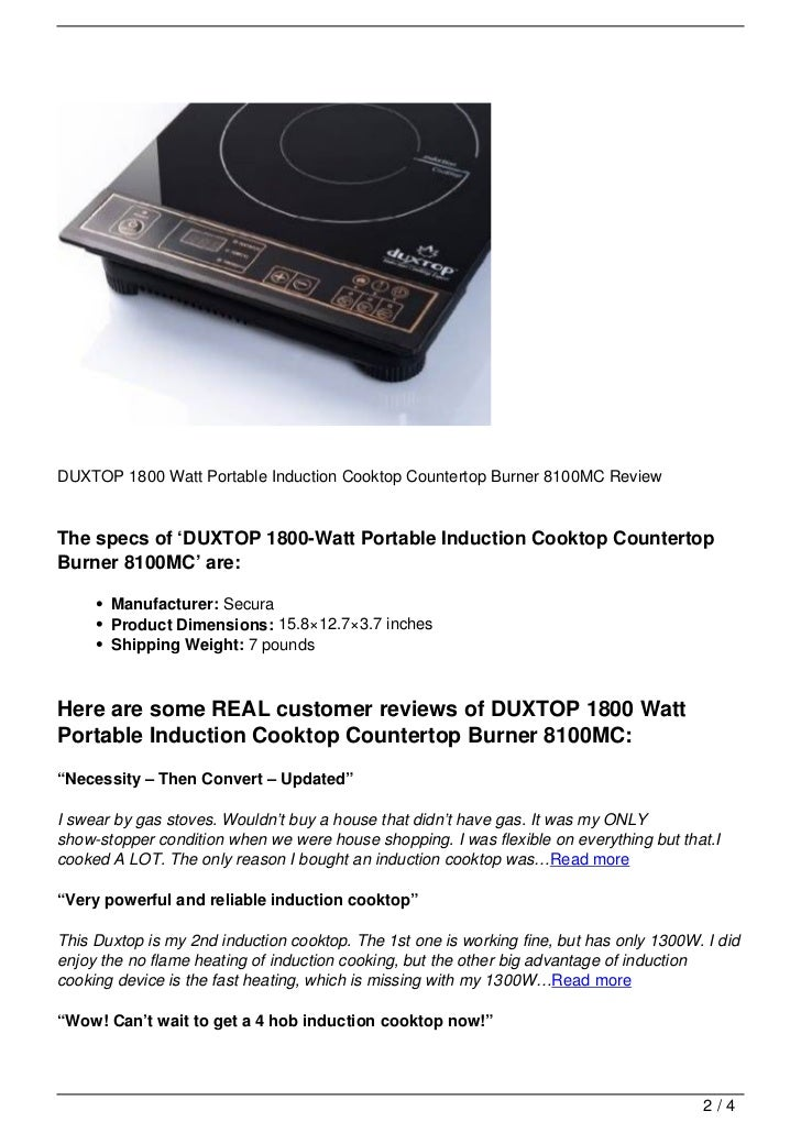 Stunning Duxtop 1800-watt Portable Induction Cooktop Countertop ...