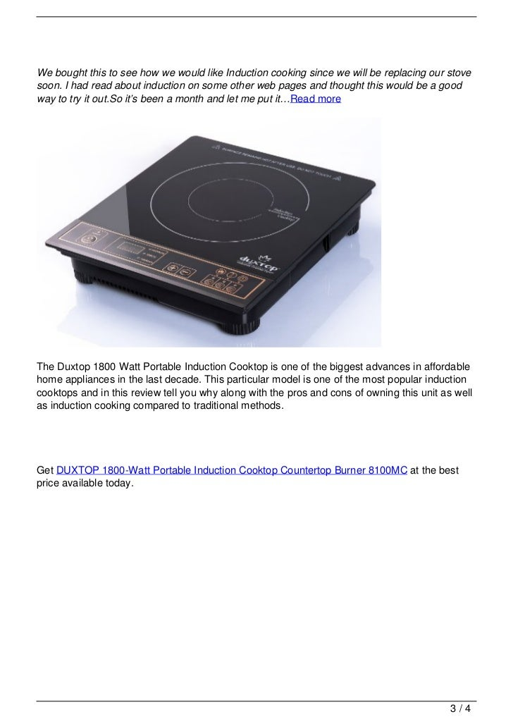 Duxtop 1800 watt portable induction cooktop countertop for Induction oven pros and cons