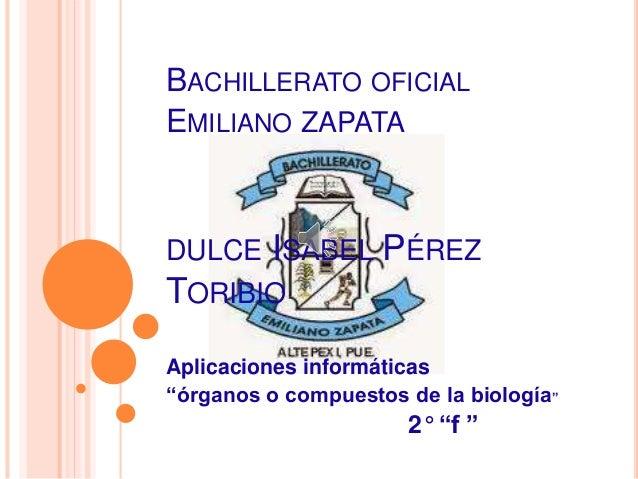 """BACHILLERATO OFICIAL EMILIANO ZAPATA DULCE ISABEL PÉREZ TORIBIO Aplicaciones informáticas """"órganos o compuestos de la biol..."""