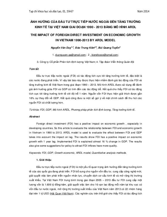 Tạp chí khoa học và đào tạo, 01, 59-67 Năm 2014 ẢNH HƯỞNG CỦA ĐẦU TƯ TRỰC TIẾP NƯỚC NGOÀI ĐẾN TĂNG TRƯỞNG KINH TẾ TẠI VIỆT...