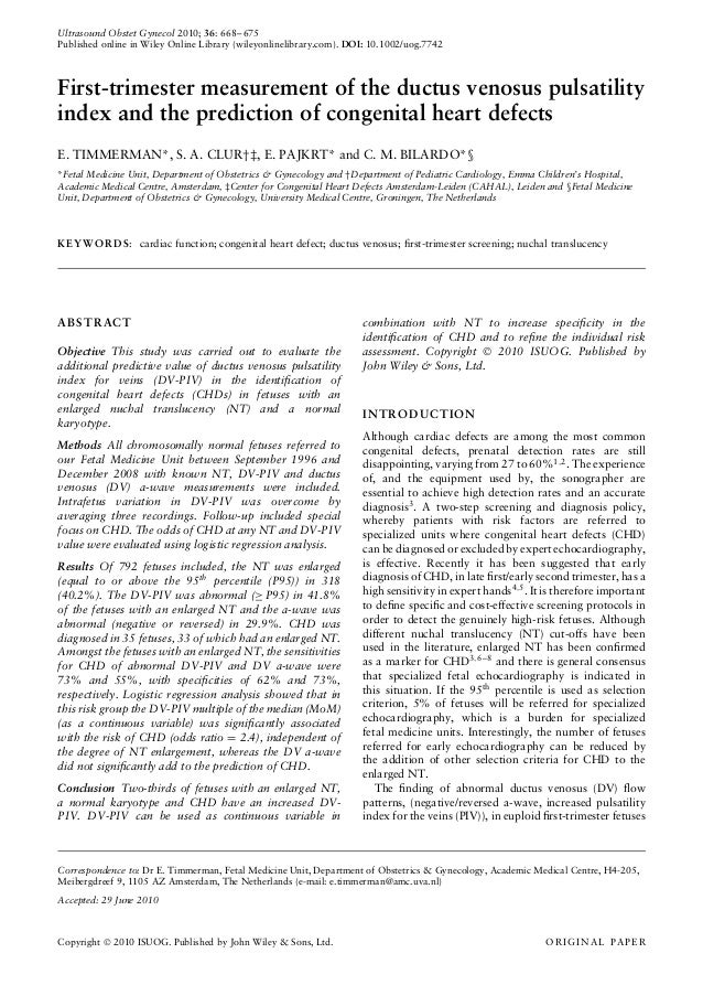 Ultrasound Obstet Gynecol 2010; 36: 668–675 Published online in Wiley Online Library (wileyonlinelibrary.com). DOI: 10.100...