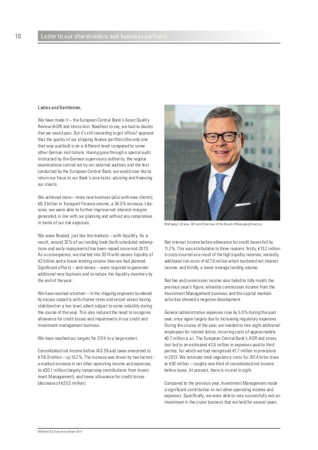 14 DVB Bank SE | Group Annual Report 2014 Report of the Supervisory Board In 2014, the entire Supervisory Board once again...