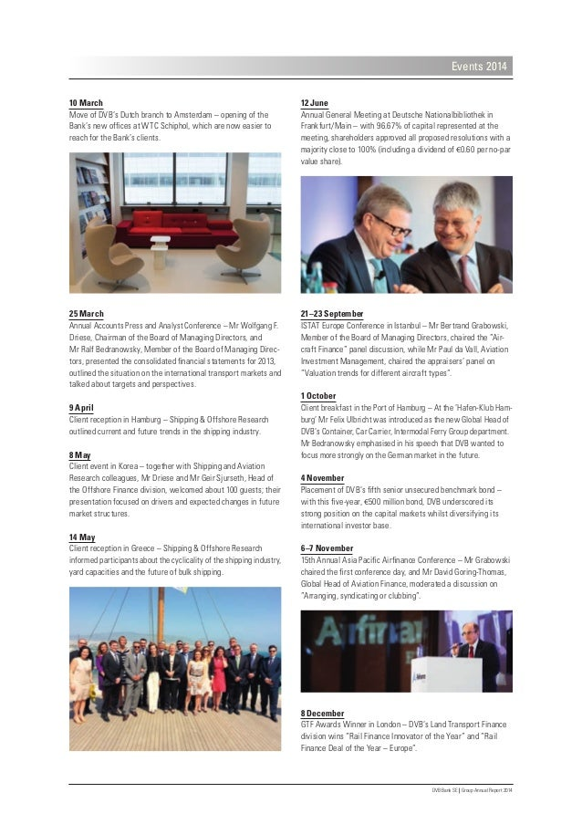 DVB Bank SE | Group Annual Report 2014 Events 2014 12 June Annual General Meeting at Deutsche Nationalbibliothek in Frankf...