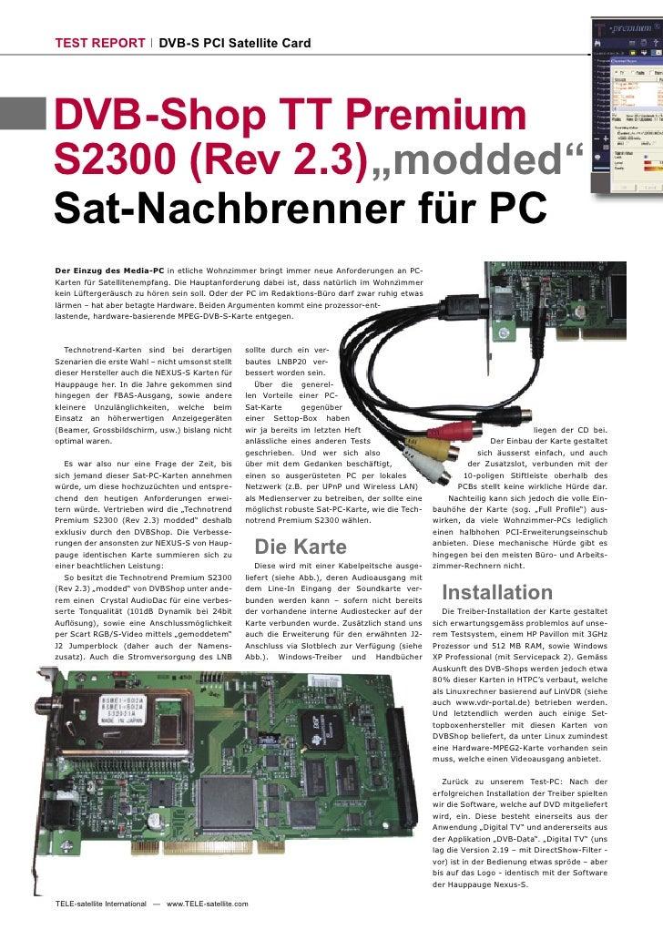 "TEST REPORT                 DVB-S PCI Satellite Card     DVB-Shop TT Premium S2300 (Rev 2.3) ""modded"" Sat-Nachbrenner für ..."