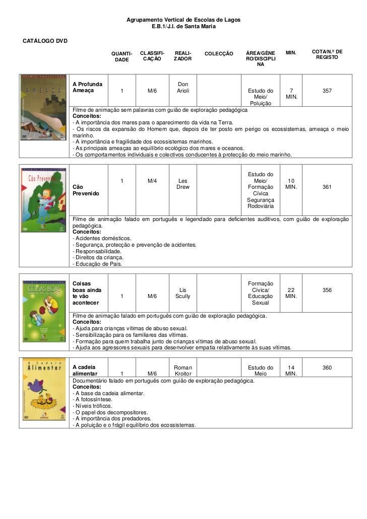 Agrupamento Vertical de Escolas de Lagos                                            E.B.1/J.I. de Santa MariaCATÁLOGO DVD ...