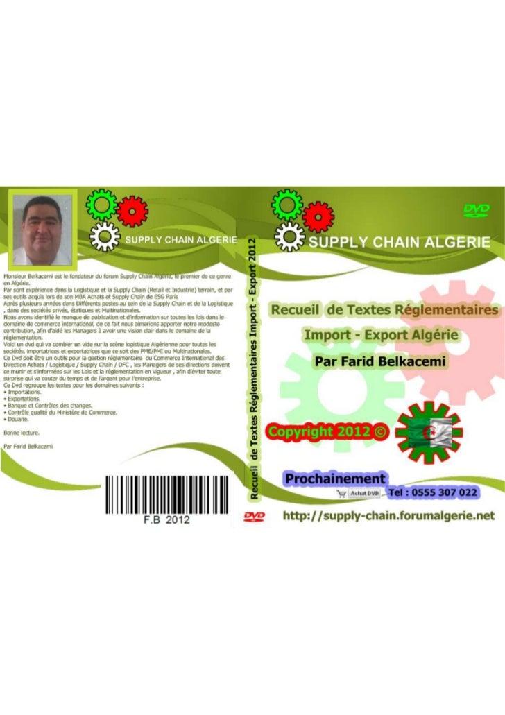 Dvd 2012 réglementation import export