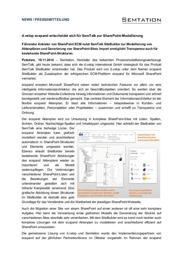 NEWS / PRESSEMITTEILUNG  d.velop ecspand entscheidet sich für SemTalk zur SharePoint-Modellierung  Führender Anbieter von ...
