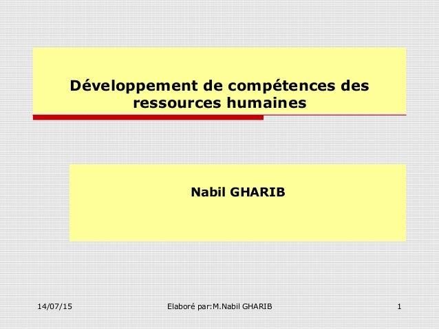 14/07/15 Elaboré par:M.Nabil GHARIB 1 Développement de compétences des ressources humaines Nabil GHARIB
