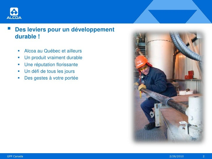 Alcoa – Aluminerie de Deschambault : Des leviers pour un développement durable Slide 2