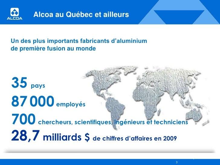 Alcoa – Aluminerie de Deschambault : Des leviers pour un développement durable Slide 3