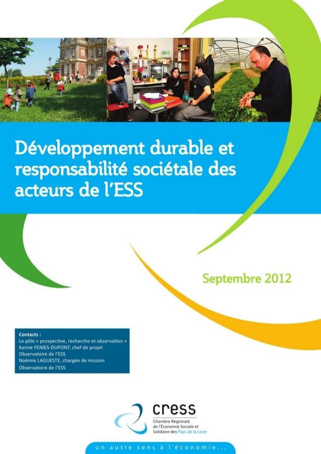 CRESS des Pays de la Loire.« Développement durable et responsabilité sociétale des acteurs de l'ESS »   2/14