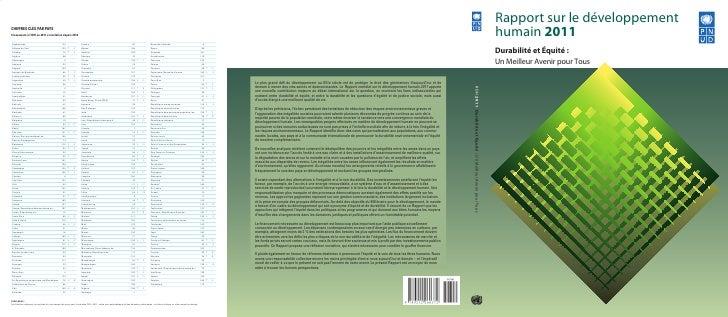 Rapport sur le développementCHIFFRES CLÉS PAR PAYSClassement à lIDH en 2011 et évolution depuis 2010                      ...