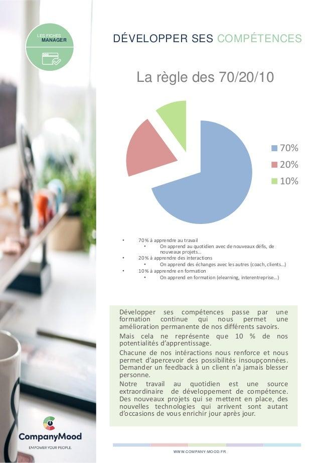 DÉVELOPPER SES COMPÉTENCESLES FICHES MANAGER • 70 % à apprendre au travail • On apprend au quotidien avec de nouveaux défi...