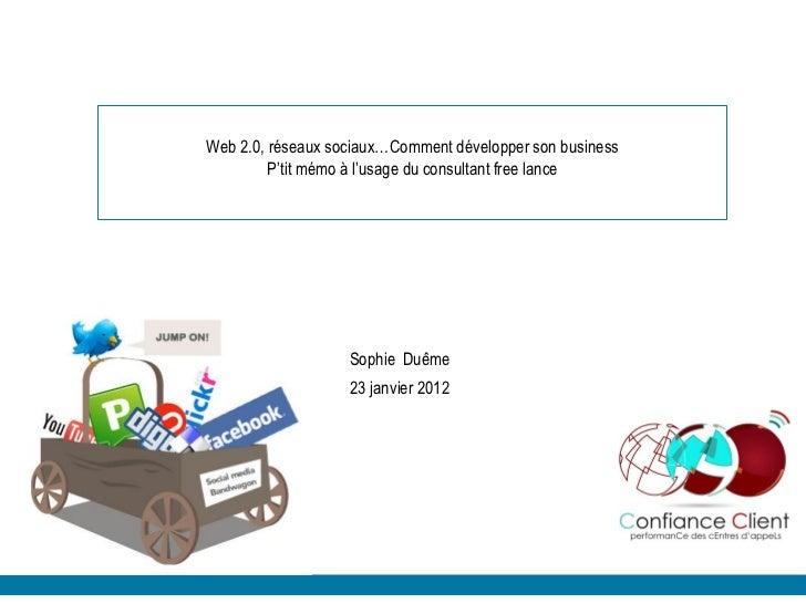 Web 2.0, réseaux sociaux…Comment développer son business         P'tit mémo à l'usage du consultant free lance            ...
