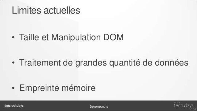 Manipulation DOM • N 1 des causes de mauvaises performances • Eviter les grosses manipulations • Décharger ce qui n'est pa...