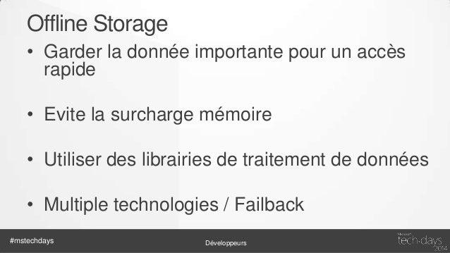 Offline Storage  #mstechdays  Développeurs