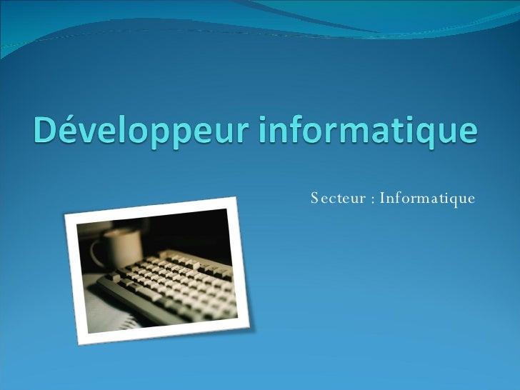 Secteur : Informatique