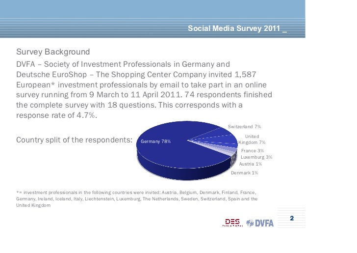 Social Media Survey 2011 _Survey BackgroundDVFA – Society of Investment Professionals in Germany andDeutsche EuroShop – Th...