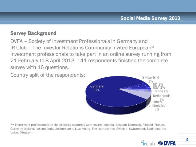 2Social Media Survey 2013 _Survey BackgroundDVFA – Society of Investment Professionals in Germany andIR Club – The Investo...