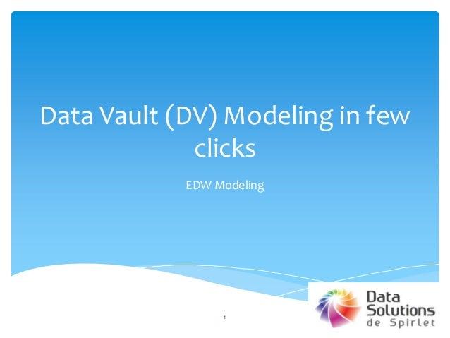 Data Vault (DV) Modeling in few clicks EDW Modeling 1