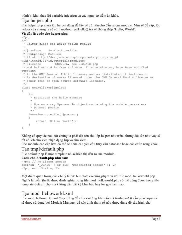 tránh bị khai thác lỗi variable injection và các nguy cơ tiềm ẩn khác.Tạo helper.phpFile helper.php chứa lớp helper dùng đ...