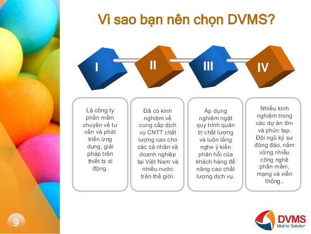 Vì sao bạn nên chọn DVMS?  I  II  III  IV  Là công ty phần mềm chuyên về tư vấn và phát triển ứng dụng, giải pháp trên thi...