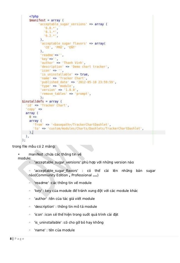trong file mẫu có 2 mãng:    •    manifest :chứa các thông tin về    module:         ◦ acceptable_sugar_versions:phù hợp v...
