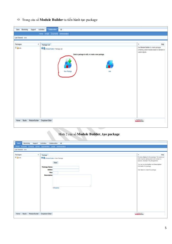  Trong cửa sổ Module Builder ta tiến hành tạo package                           Hình 2 cửa sổ Module Builder, tạo package...