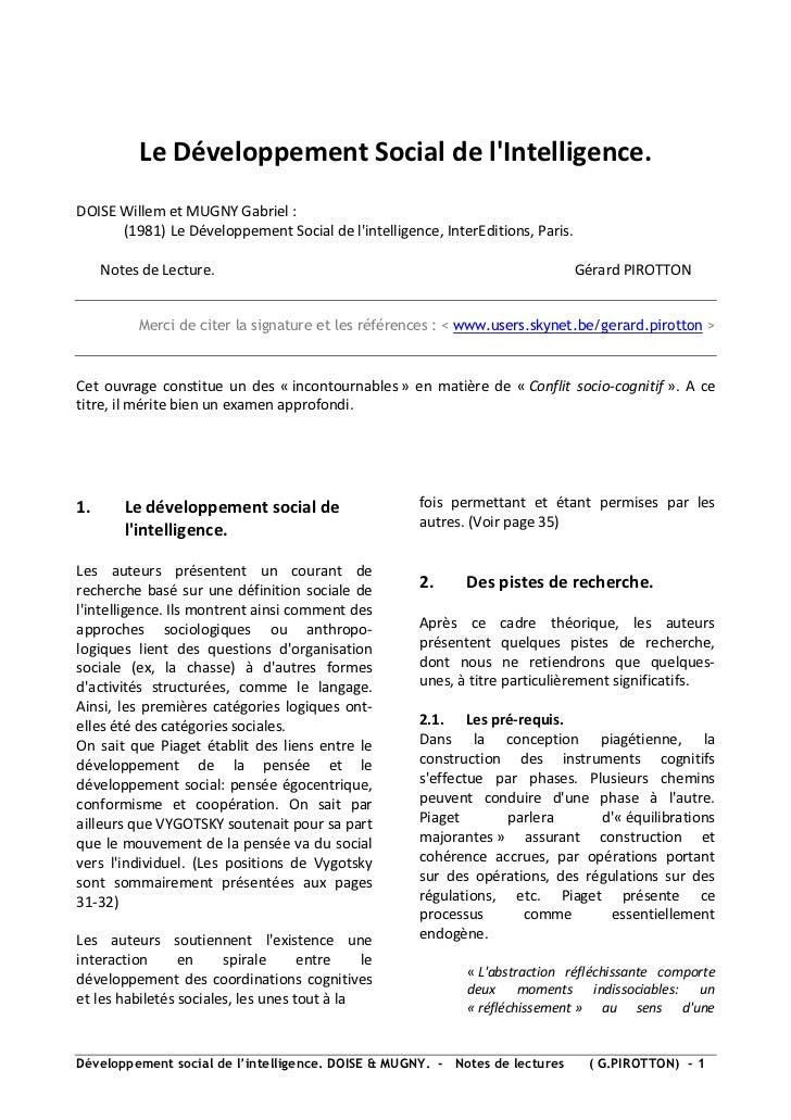 Le Développement Social de lIntelligence.DOISE Willem et MUGNY Gabriel :      (1981) Le Développement Social de lintellige...