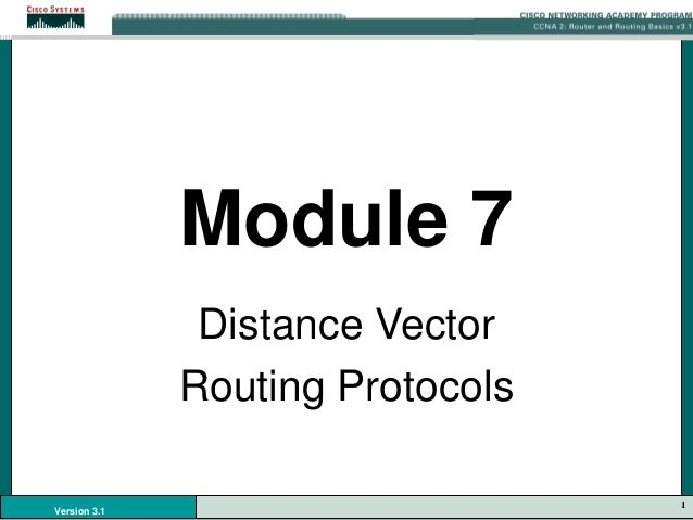 1 Version 3.1 Module 7 Distance Vector Routing Protocols