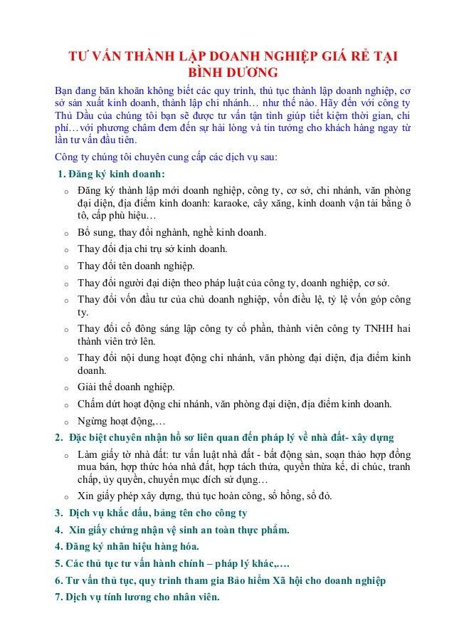 TƯ VẤN THÀNH LẬP DOANH NGHIỆP GIÁ RẺ TẠI BÌNH DƯƠNG Bạn đang băn khoăn không biết các quy trình, thủ tục thành lập doanh n...