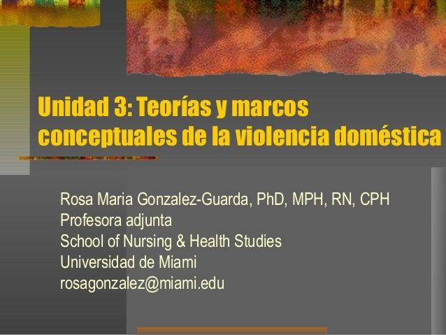 Unidad 3: Teorías y marcos conceptuales de la violencia doméstica Rosa Maria Gonzalez-Guarda, PhD, MPH, RN, CPH Profesora ...