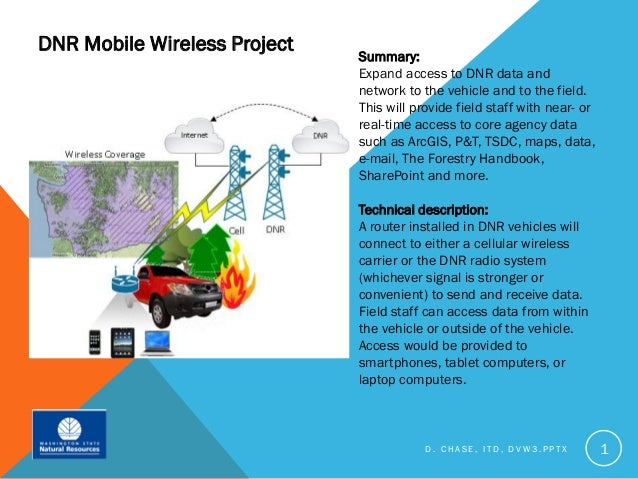 DNR Mobile Wireless Project                              Summary:                              Expand access to DNR data a...