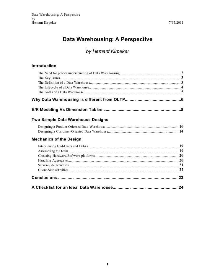 Data Warehousing: A PerspectivebyHemant Kirpekar                                                                          ...