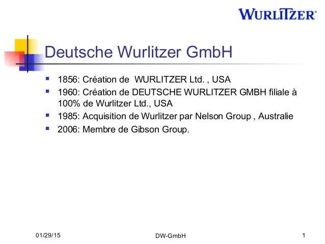 01/29/15 DW-GmbH 1 Deutsche Wurlitzer GmbH  1856: Création de WURLITZER Ltd. , USA  1960: Création de DEUTSCHE WURLITZER...