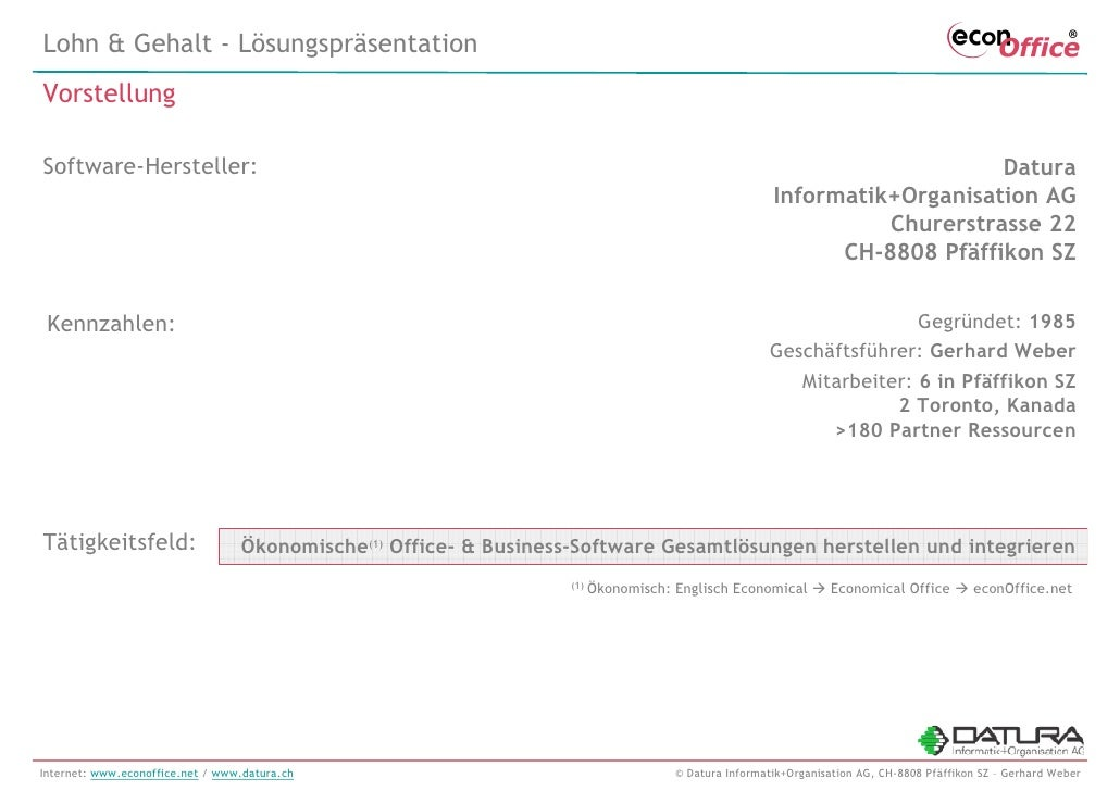 econOffice/HR Personalwirtschaft - Swissdec Lohnbuchhaltung - Lösungsbeschreibung mit Screenshots - 20091026 Slide 2