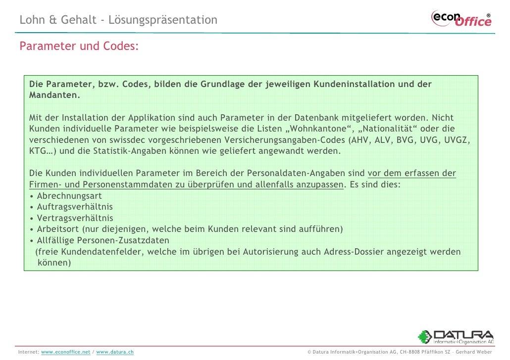 econOffice/HR Personalwirtschaft - Swissdec Lohnbuchhaltung - Lösungsbeschreibung mit Screenshots - 20091026 Slide 3
