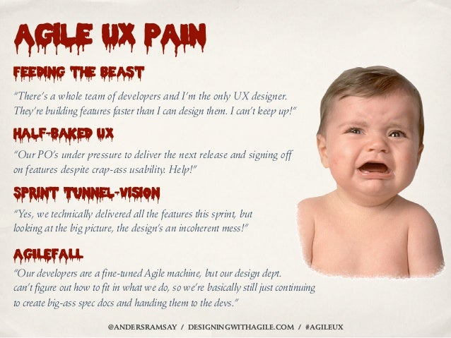 """Agile UX PAINFeeding the beast""""There's a whole team of developers and I'm the only UX designer.They're building features f..."""