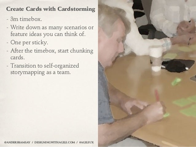 Create Cards with Cardstorming - 3m timebox. - Write down as many scenarios or   feature ideas you can think of. - One per...