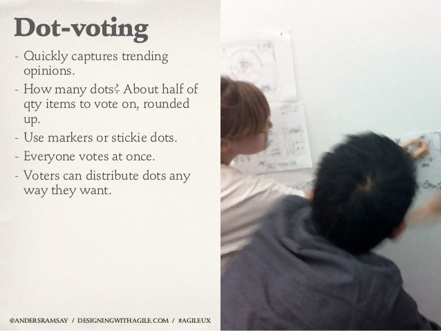 Dot-voting - Quickly captures trending   opinions. - How many dots? About half of   qty items to vote on, rounded   up. - ...