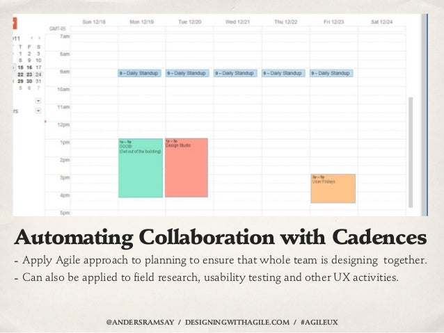 Automating Collaboration with Cadences- Apply Agile approach to planning to ensure that whole team is designing together.-...