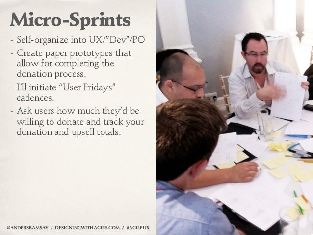 """Micro-Sprints - Self-organize into UX/""""Dev""""/PO - Create paper prototypes that   allow for completing the   donation proces..."""