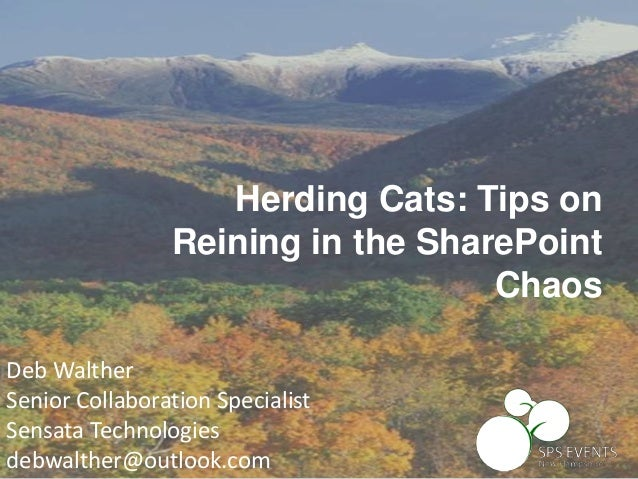 Deb Walther Senior Collaboration Specialist Sensata Technologies debwalther@outlook.com Herding Cats: Tips on Reining in t...
